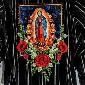 refashioned Shirts - Our Lady Of Guadalupe Redesigned Dress Shirt OOAK